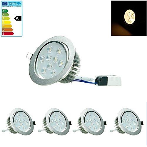 9w Led Spot Lampe (ECD Germany 4-er Pack LED Einbaustrahler 9W 230V - Dimmbar - Rund Ø13.5cm - 632 Lumen - Warmweiß 3000K - schwenkbar 30° - IP44 - Einbauleuchte Leuchtmittel Lampe Spot)