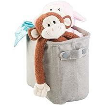 mDesign Organizador de juguetes de tela para ordenar la habitación infantil – Cajas de almacenaje grandes para organizar juguetes – Juguetero de color gris claro