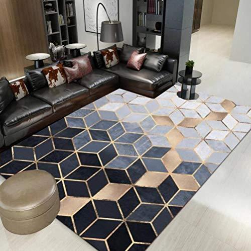 GCCMK Nordic Modern Metal Golden Carpet Black Geometric for Bedroom Ca