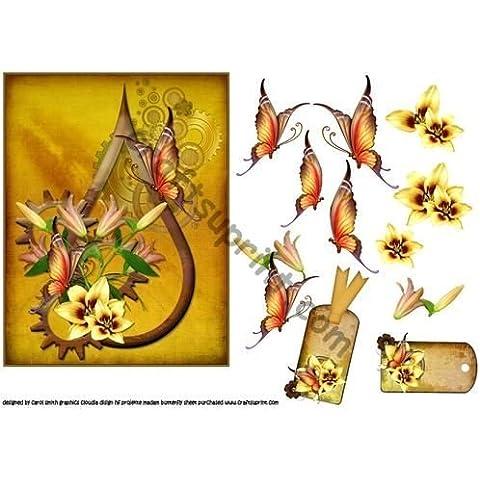 Diseño de lirios y mariposas de steampunk en forma de lágrima cluster por Carol Smith