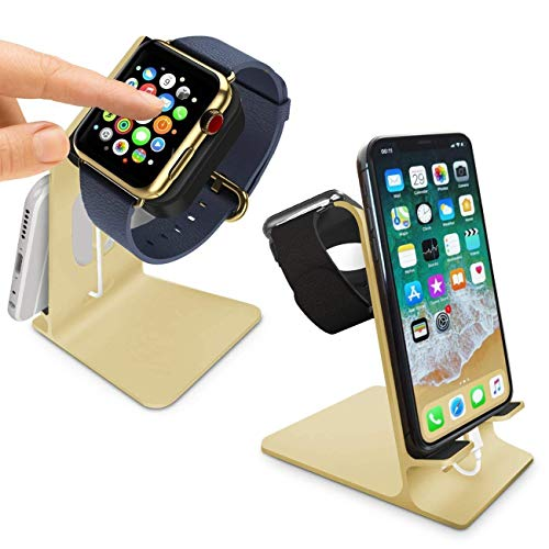 Orzly® - DuoStand Charge Station für Apple Watch & iPhone - Aluminium Aufladegestell (GOLD) fuer das IPhone und Apple Watch - Geeignet fuer iPhone Modelle: 5/5S/5C/6/6 PLUS & AppleWatch (42mm & 38mm) (original BASIC model / SPORT version / edition models