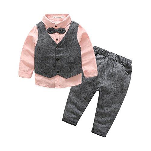 Fanryn 3-teiliges Boykleidungs-Set Babyanzug Jungen Kleider Coat Kleidung kariertes Hemd spielanzug + Weste + Hose Bekleidungsset Kleidung Gentleman Anzug mit Ärmeln Herbst Kleidung des (Kind Kleid Für Jungen)