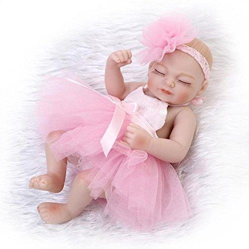 NPKDOLL Réincarné Bébé Poupée Vinyle Silicone Dur 10 Pouces 26Cm Yeux Waterproof Jouet Rose Fille Robe Fermer Reborn Baby Doll A1FR