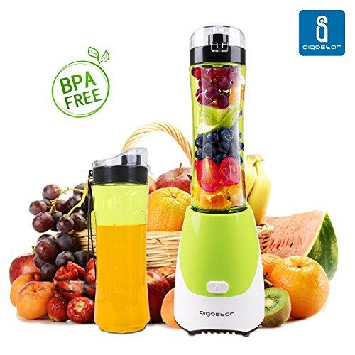 Aigostar-Summer-30IWW-Batidora-de-vaso-porttil-para-smoothies-batidos-y-picadora-de-frutas-Color-verde-Libre-de-BPA-Potencia-de-300W-Incluye-2-vasos-de-600-ml-de-capacidad-y-2-tapas