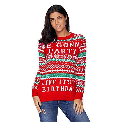 (KAIDILA Rot We Gonna Partei hässliche Weihnachts Pullover Weihnachten Runde Hals Langarm Brief Print Motiv Pullover Wolle Sweatshirt Lässige Pullover)