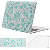 Mosiso MacBook Pro 13 Case 2017 2016 Release A1706/A1708, Plastic Pattern Hard Case Shell with Keyboard Cover with Screen Protector for Newest MacBook Pro 13 Inch, Hot Blue and White Mandala
