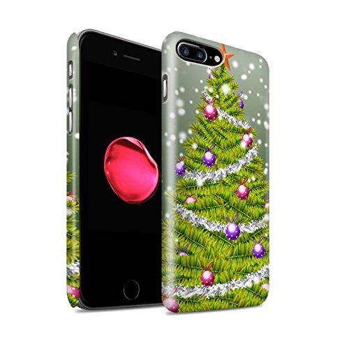 STUFF4 Matte Snap-On Hülle / Case für Apple iPhone 8 Plus / Lila Muster / Weihnachts Tannenbaum Kollektion Grün
