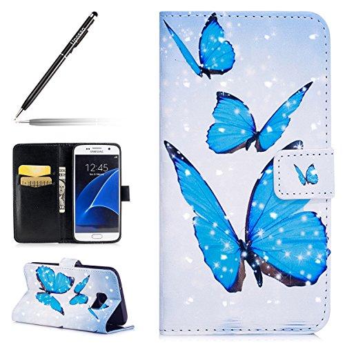Uposao Kompatibel mit Handyhülle Galaxy S7 Handytasche Glitzer 3D Bunt Bling Glänzend Leder Tasche Schutzhülle Brieftasche Handytasche Lederhülle Book Flip Case Cover Klapphülle,Schmetterlinge