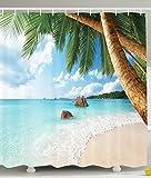BBFhome Duschvorhang 180 x 180 cm Badezimmer Dekor Kollektion Palmen auf Tropical Island Beach Panoramablick Bild drucken Polyester Gewebe Set mit Haken grün blaue Sand Bunte