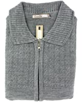 Mens Plain Stitch Detail Front Zipped Cardigan - Light Grey