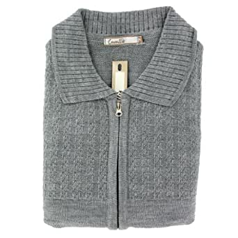 """Mens Plain Stitch Detail Front Zipped Cardigan - Light Grey (Small (36-38"""" Chest))"""