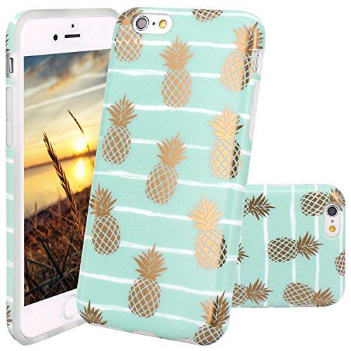 JIAXIUFEN iPhone 6 Hülle, iPhone 6S Hülle, Shiny Gold Pineapple Baby Mint Marmor Design Soft TPU Silikon Schutz Handy Hülle Handytasche HandyHülle Case Cover Tasche Schutzhülle für iPhone 6 6s
