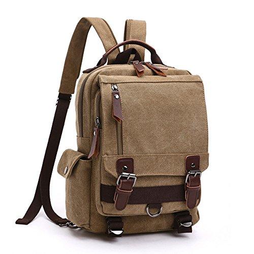 LOSMILE Zaino Uomo donne Zaini Tela Zainetto Borsa a Tracolla Borsa di Tela Sacchetto del Messaggero Sacchetto di Messenger bag Backpack. (Cachi)