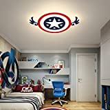 46W Modern LED Deckenleuchte Kinderzimmer Lampe Cartoon Runde Captain America Kinderlampe Kreative Design Schlafzimmer Leuchte Deckenlampe Acryl Lampenschirm Innenleuchte Beleuchtung Ø42CM,Warmlight