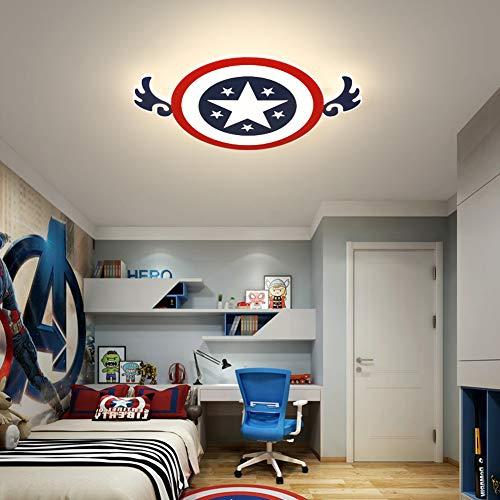 46W Modern LED Deckenleuchte Kinderzimmer Lampe Cartoon Runde Captain America Kinderlampe Kreative Design Schlafzimmer Leuchte Deckenlampe Acryl Lampenschirm Innenleuchte Beleuchtung Ø42CM,Warmlight
