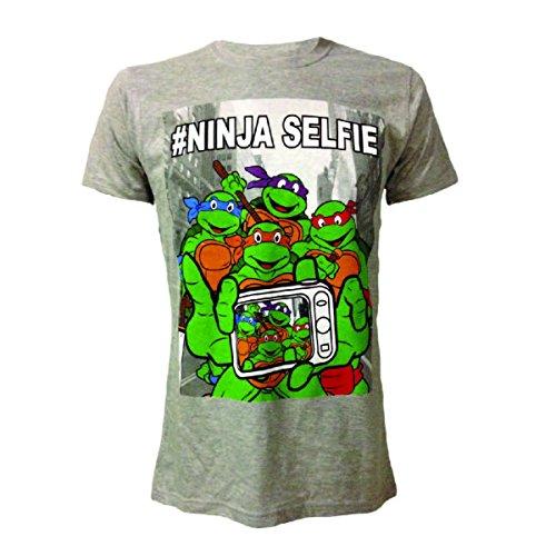 TMNT TEENAGE MUTANT NINJA TURTLES T-Shirt mit witzigem SELFIE-Motiv, Farbe grau und Größe XL