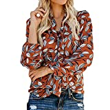 TianWlio Damen Langarmshirt Bluse Sweatshirt Kapuzenpullover Frauen Mode Druck Langarm V-Ausschnitt Ribbons Top Chiffon Bluse