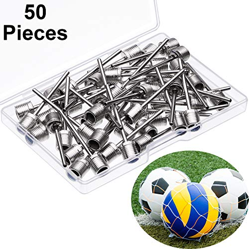 Yaomiao 50 Piezas de Aguja de Inflar Balones, Agujas de Bomba de Aire de Acero Inoxidable para Balones Deportivos, Agujas de Inflador de Baloncesto Fútbol con 2 Bolsas de Malla de Balones