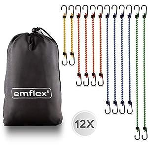 emflex® GS-MAX Profi Gepäckspanner mit Haken - 12 Stück mit Beutel - Spanngummi Set - Spannseile Gummi in 4 Längen - Spanngurte Gummi - Expander Gummis - Ideale Spanner für Auto & Fahrrad