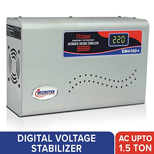 Microtek EM4160+ Automatic Voltage Stabilizer for AC up to 1.5 ton (160V-285V), Metallic Grey - Digital Display, Wall Mounted