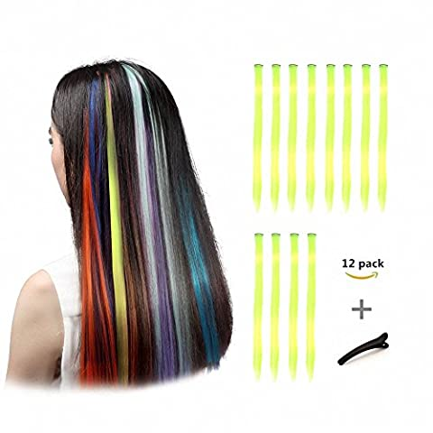 FESHFEN 12 Pcs Fluorescein Straight Clip on in Hair Extensions Hairpieces 20 Inches Long Remy Hair Colored Party Highlights Hair Accessories DIY Hair Decoration Cosplay with Gift Hairpin