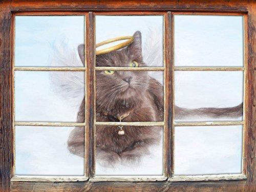 Katzen-Engel auf einer Wolke im Himmel Kunst Buntstift Effekt Fenster im 3D-Look, Wand- oder...
