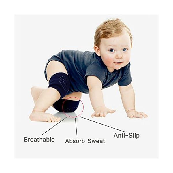 SWEETBB 3pares bebé niño Rodilleras, Baby Rodilleras con puntos de goma antideslizante, 0–24Meses 2