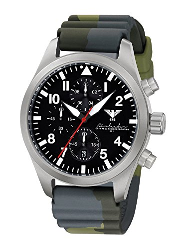 Airleader Steel Chronograph KHS. Airsc DC3 Stainless Steel, Diverband Camouflage oliv KHS Tactical Watch, Wrist Watch, Aviator Watch