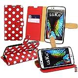 Emartbuy® LG K10 ( 2016 ) Brieftaschen Brieftasche Etui Hülle Case Cover aus PU Leder Polka Dots Rot Weiß mit Kreditkartenfächern
