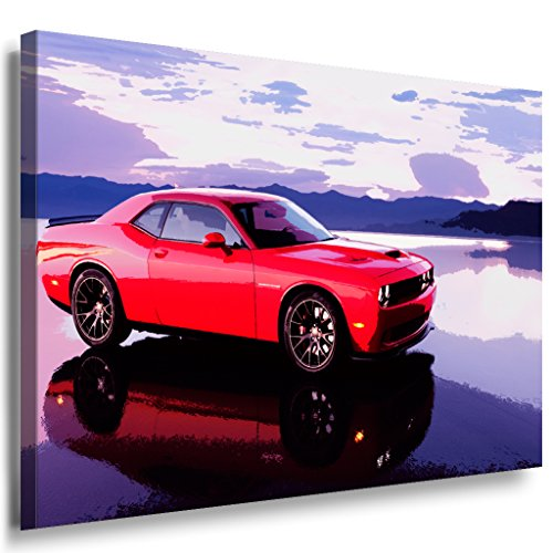 dodge-challenger-leinwandbild-laraart-bilder-mehrfarbig-wandbild-100-x-70-cm