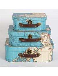 Conjunto de tres estilo Vintage mapa del mundo decorativa Mini maleta caja de recuerdos de almacenamiento