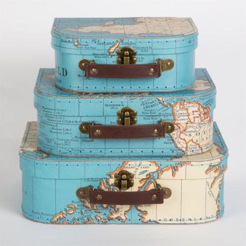 Conjunto tres estilo Vintage mapa mundo decorativa