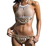 Bañadores Deportivas Mujer, ❤️Xinan Conjunto de bikini de punto hecho a mano de mujer push-up, Sostén - 1 conjunto de trajes de baño de Bohemia (L, ✿Caqui)
