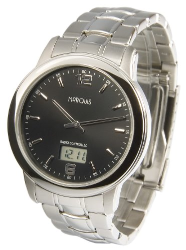 MARQUIS Herren Funkuhr, Gehäuse und Armband aus Edelstahl, Armbanduhr, Junghans-Uhrwerk 964.6175