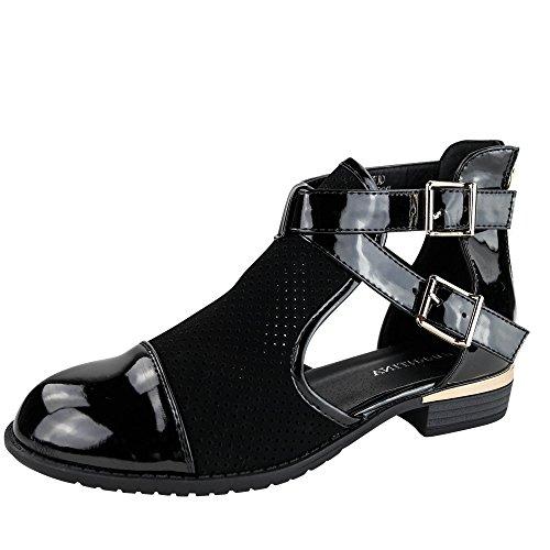 Damen Stiefeletten Spitze Boots Chelsea Ankle Boots ST868 Schwarz