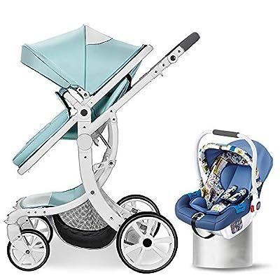 Hot Mom Multi Cochecito Cochecito 2 en 1 con Buggy 2019 Nuevo diseño, Asiento para bebé Vendido por Separado Matcha Verde + Canasta de Seguridad 85x63x112cm