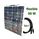 Panel solar semi-flexible 50W 12V cable 5m SUNPOWER