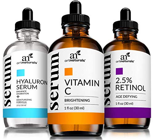 Art Naturals Anti-Aging Set: Vitamin C Serum 29 ml, Retinol Serum 29 ml, Hyaluronsäure Serum 29 ml, Falten Reduzierend | Anti-Age Behandlung | Natürliche Inhaltsstoffe