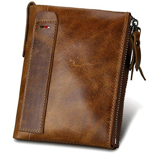Premium echtem Rindsleder Geldbörse mit RFID Schutz, Vintage Bifold Geldbeutel Doppelreißverschluss Portemonnaie mit Kreditkarte Halter -