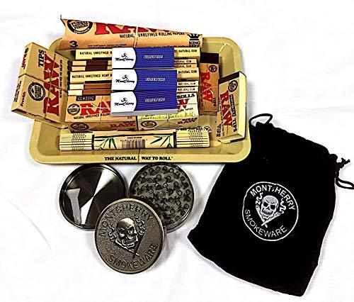RAW, set regalo stile anni '70, assortimento misto di cartine e vassoio mini in metallo per rollare (etichette dei prodotti in lingua italiana non garantite)