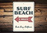 Dozili Surf Strand Schild Strand Pfeil Schild Favorit Strand Geschenk Strand Wohnungen Dekoration Surf Liebhaber Geschenk Mileage Strand Dekoration Qualität Metall 20,3 x 30,5 cm