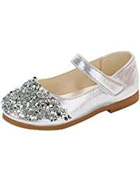 FRAUIT Scarpe Bambina da PU Pelle e Strass Calzature Mary Jane Ragazza  Tacco Basso Scarpe Bambine Eleganti Ceremonia Ballerine… fd20e795b99