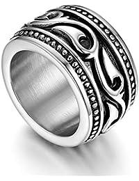 be0b11c74fd6e9 Flongo Anello di Fidanzamento per Uomo, Anello di Tenuta Grande Celtico  Anello Irlandese Vikings Celtiche