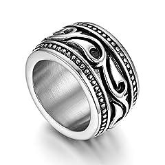 Idea Regalo - Flongo Anello di Fidanzamento per Uomo, Anello di Tenuta Grande Celtico Anello Irlandese Vikings Celtiche, Amuleto Anello in Acciaio Inox, Taglia Grande 14