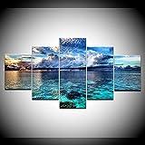 INFANDW 5 Tafeln Wand-Kunst Bild Wolkenhimmel Meer Drucke auf Leinwand Hause Moderne Wohnzimmer Schlafzimmer Dekoration Druckdekor 150x80cm (Kein Rahmen)