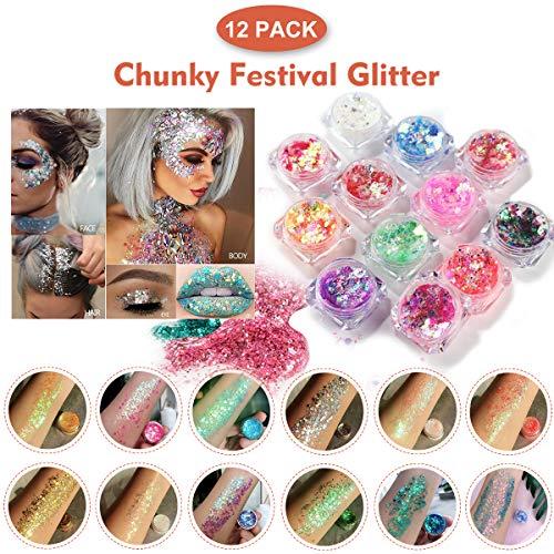 Festival Glitzer, Chunky Glitter Gel für Gesicht Körper Haare LidschattenLippen, Makeup BodyGlitzer Sequin, Gold Glitter Glue für Musik Masquerade, Halloween, Party, Weihnachten - 12 Farben * 5g -