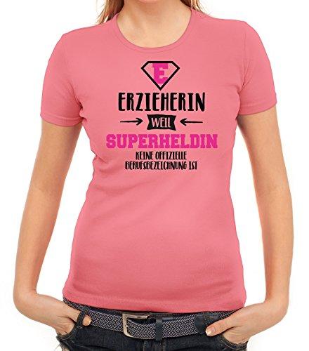Geburtstags,- Jubiläums,- Abschiedsgeschenk Damen T-Shirt mit Erzieherin - Superheldin Motiv Rosa