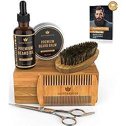 Kit de cuidado de barba Naturenics para hombres - Aceite Barba, Cera de Bálsamo Barba, Brocha Para Barba, Peina Para Barba y Bigote, Tijeras Barba- caja de regalo de bambú y Ebook