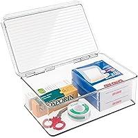 mDesign Caja organizadora de plástico – Cajonera plástica apilable con tapa para usar como botiquín – En plástico sin BPA, perfecta para organizar medicamentos – transparente