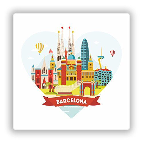 Preisvergleich Produktbild 2x Barcelona Skyline vinyl Aufkleber Reise Gepäck # 10132 - 10cm/101mm Wide